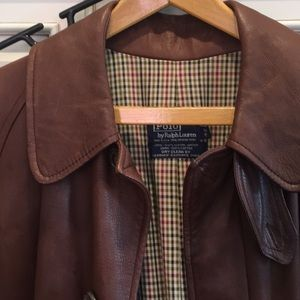 NWT/NWOT Polo Brown Leather Trench Coat Size 42.